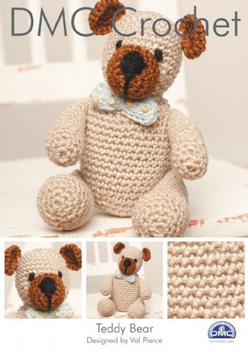 DMC CROCHET PATTERN FOR TEDDY BEAR by VAL PIERCE.